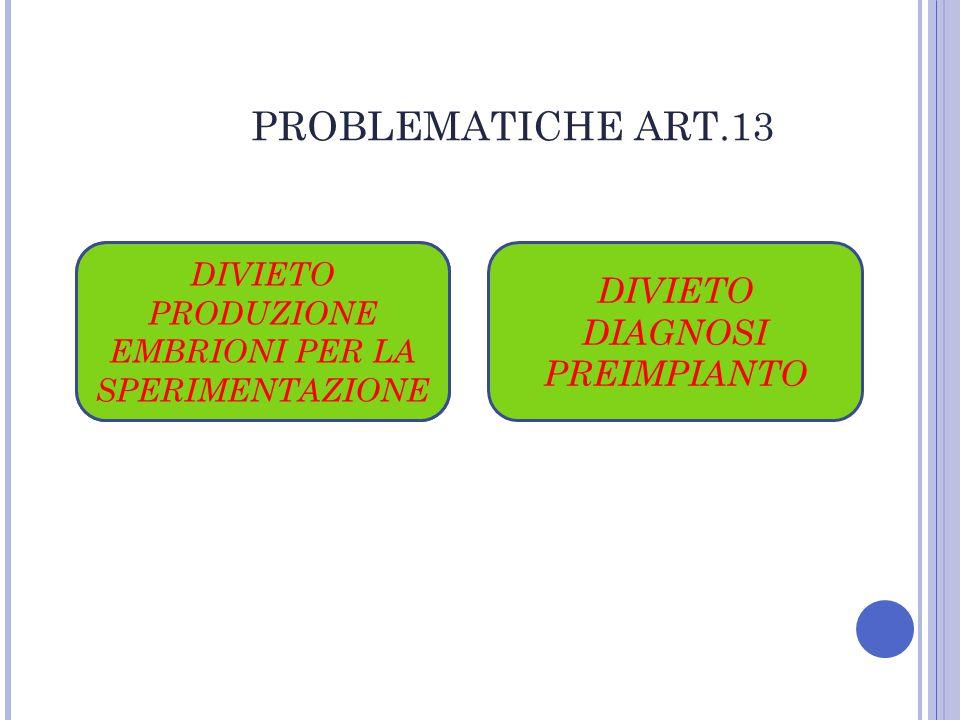 PROBLEMATICHE ART.13 DIVIETO DIAGNOSI PREIMPIANTO DIVIETO ETEROLOGA