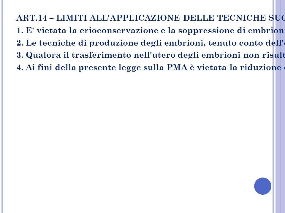 ART.14 – LIMITI ALL APPLICAZIONE DELLE TECNICHE SUGLI EMBRIONI