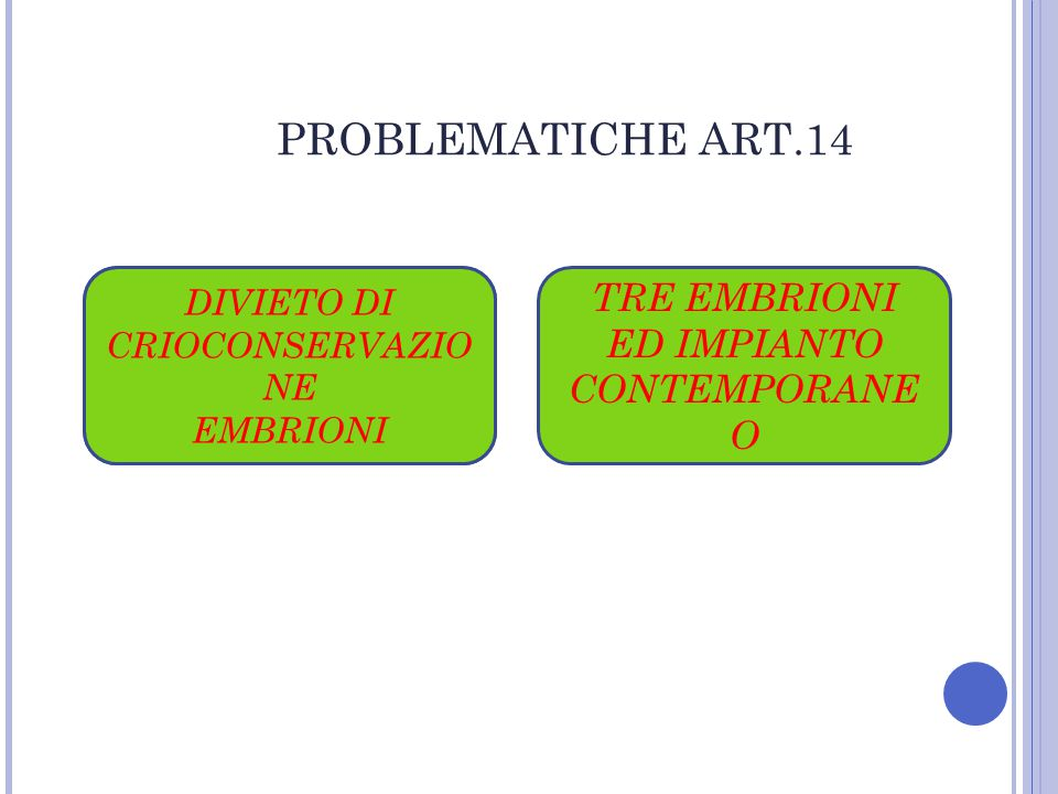 PROBLEMATICHE ART.14 TRE EMBRIONI ED IMPIANTO CONTEMPORANEO
