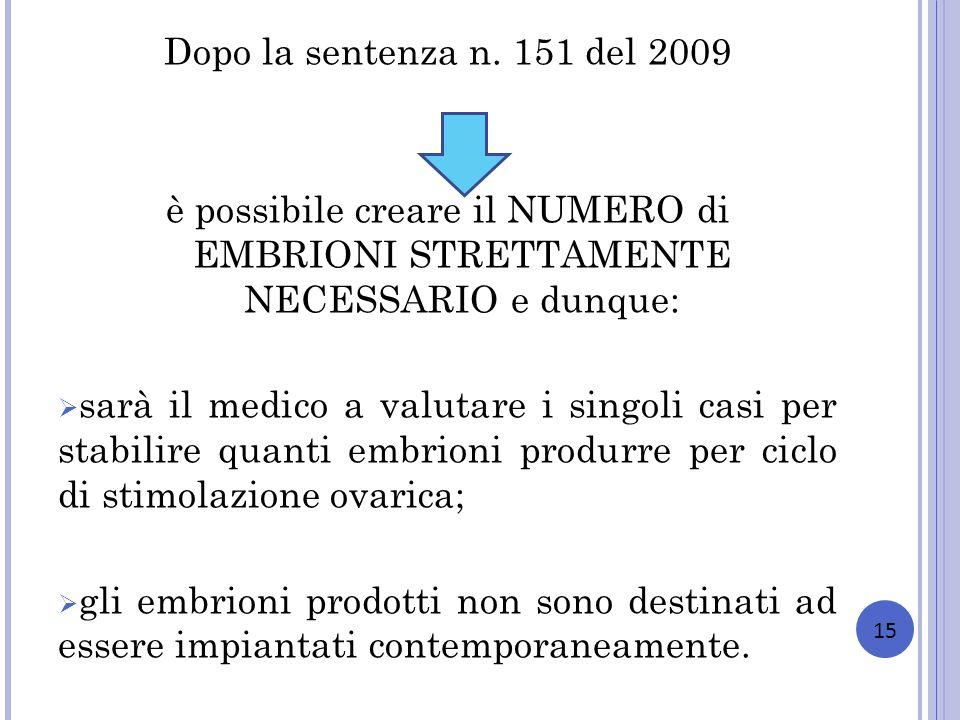 Dopo la sentenza n. 151 del 2009 è possibile creare il NUMERO di EMBRIONI STRETTAMENTE NECESSARIO e dunque: