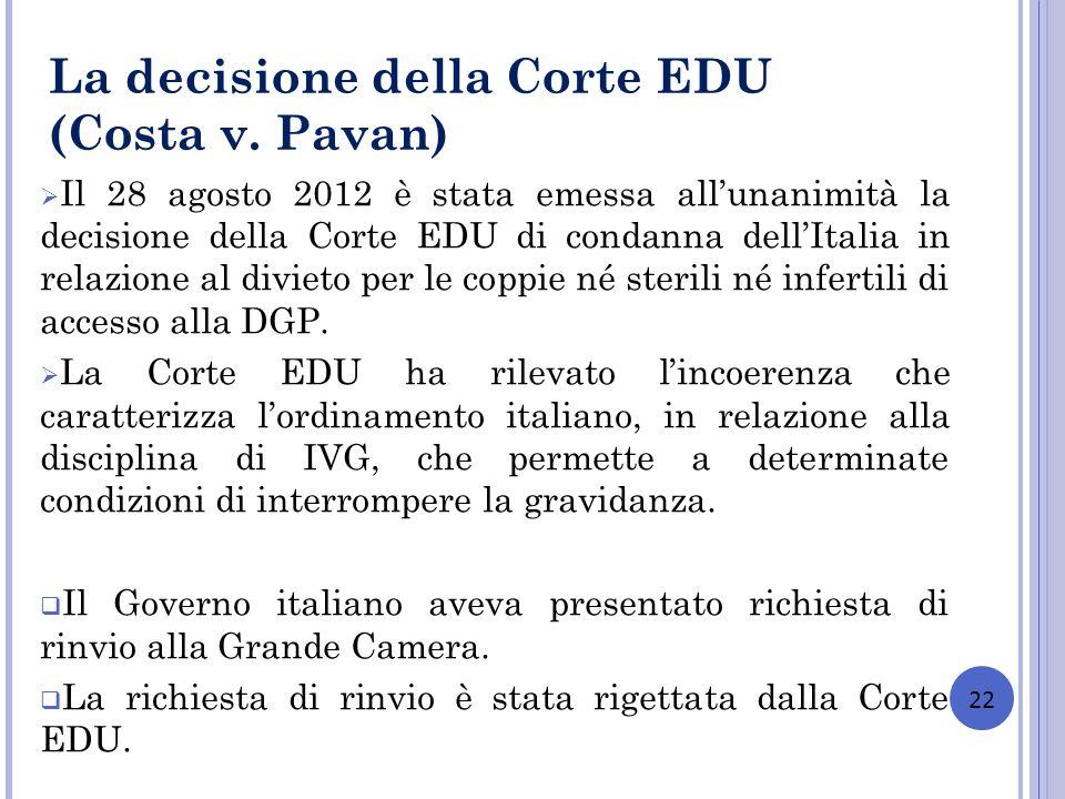 La decisione della Corte EDU (Costa v. Pavan)