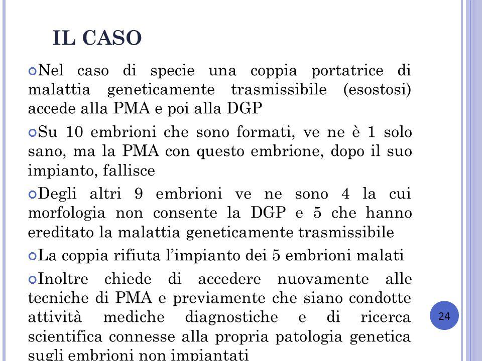IL CASO Nel caso di specie una coppia portatrice di malattia geneticamente trasmissibile (esostosi) accede alla PMA e poi alla DGP.