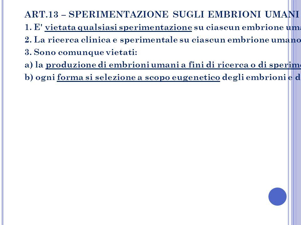 ART.13 – SPERIMENTAZIONE SUGLI EMBRIONI UMANI