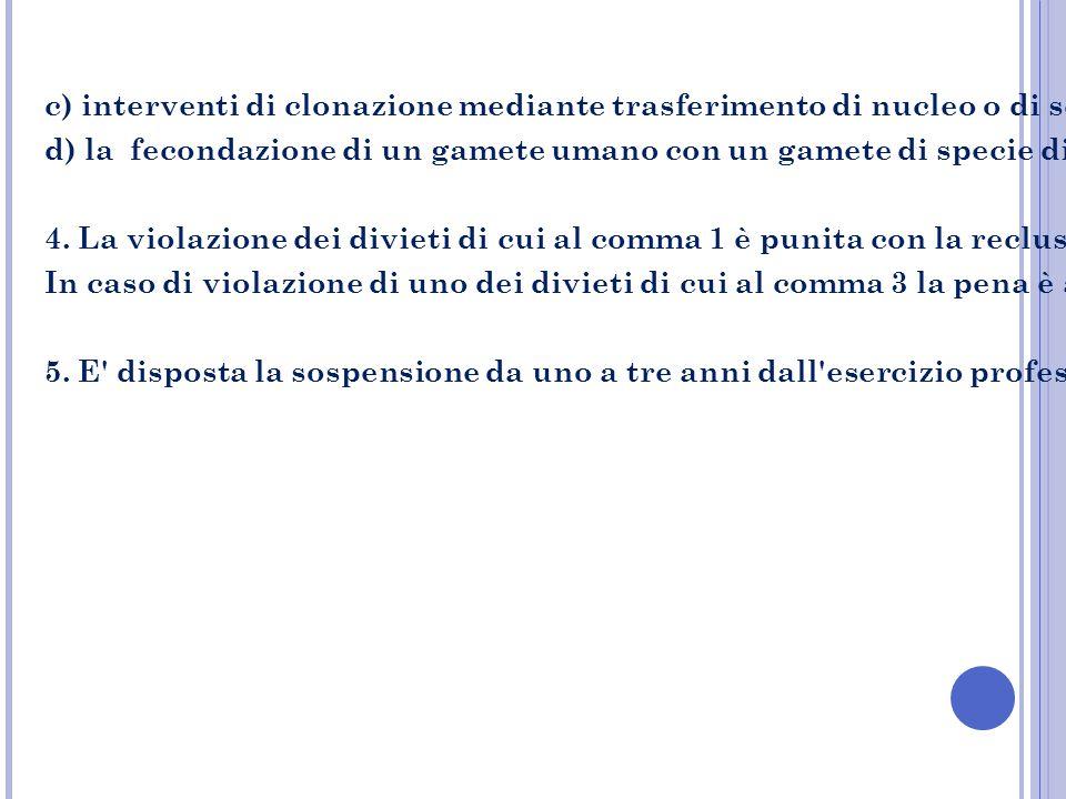 c) interventi di clonazione mediante trasferimento di nucleo o di scissione precoce dell embrione o di ectogenesi sia si fini procreativi che di ricerca;