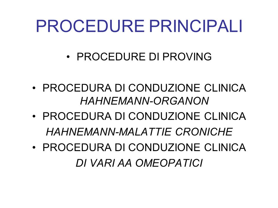 PROCEDURE PRINCIPALI PROCEDURE DI PROVING