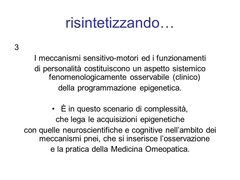 risintetizzando… 3 I meccanismi sensitivo-motori ed i funzionamenti