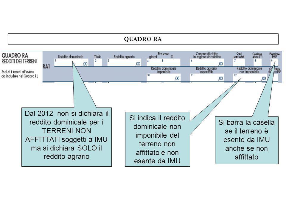 QUADRO RA Dal 2012 non si dichiara il reddito dominicale per i TERRENI NON AFFITTATI soggetti a IMU ma si dichiara SOLO il reddito agrario.