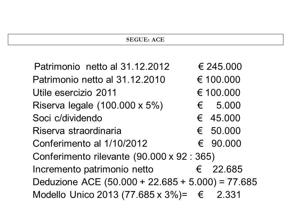 SEGUE: ACE Patrimonio netto al 31.12.2012 € 245.000. Patrimonio netto al 31.12.2010 € 100.000.
