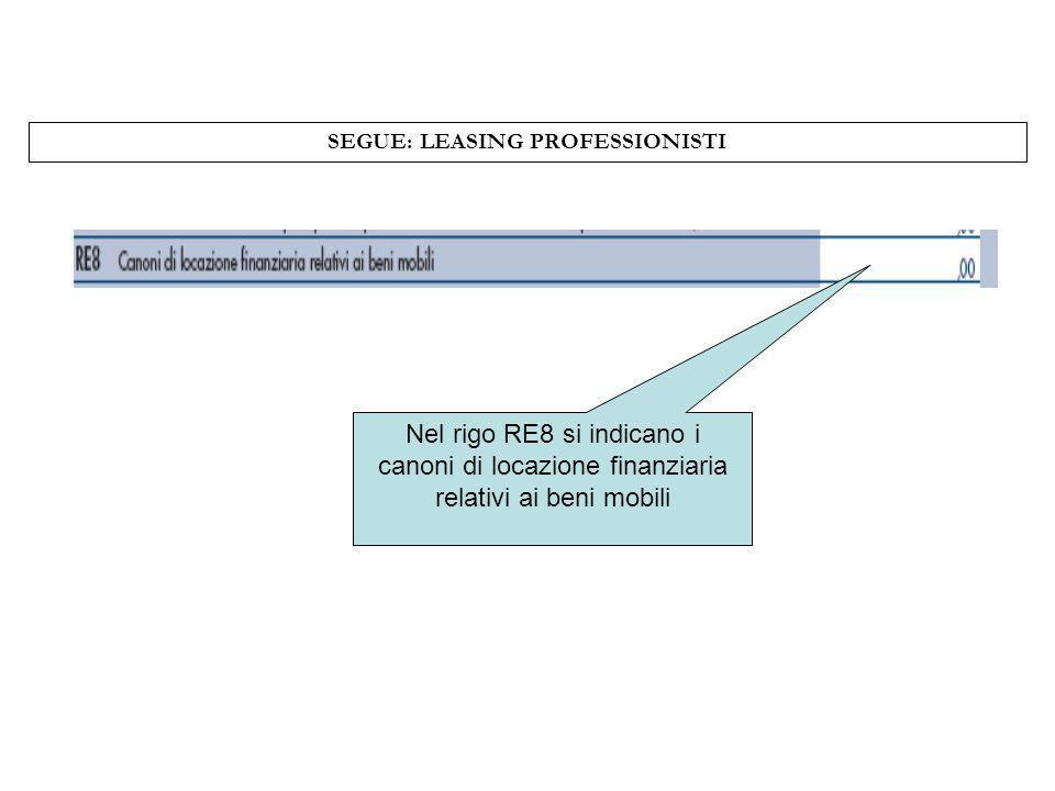 SEGUE: LEASING PROFESSIONISTI