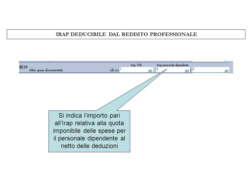 IRAP DEDUCIBILE DAL REDDITO PROFESSIONALE
