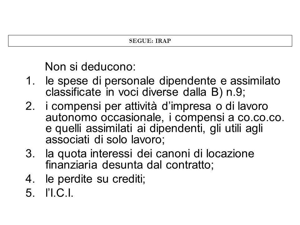 SEGUE: IRAP Non si deducono: le spese di personale dipendente e assimilato classificate in voci diverse dalla B) n.9;