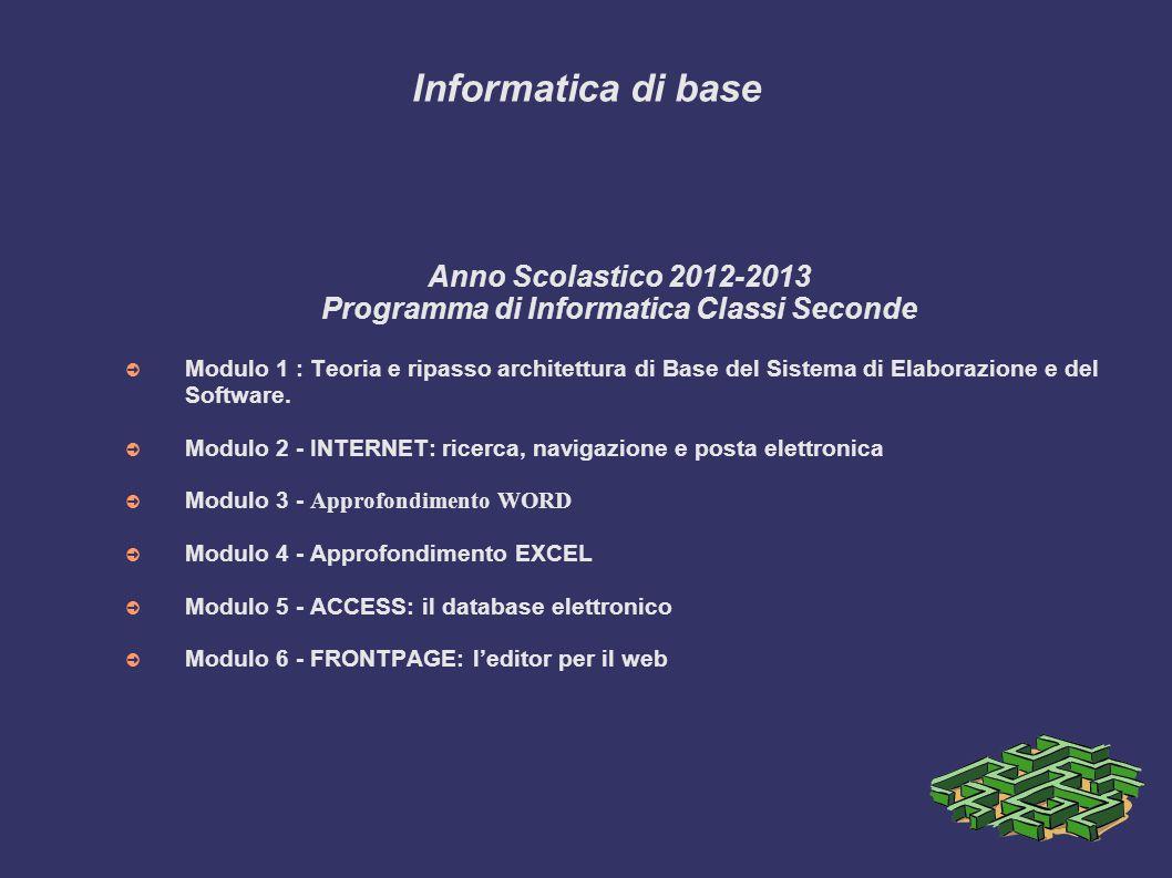 Programma di Informatica Classi Seconde