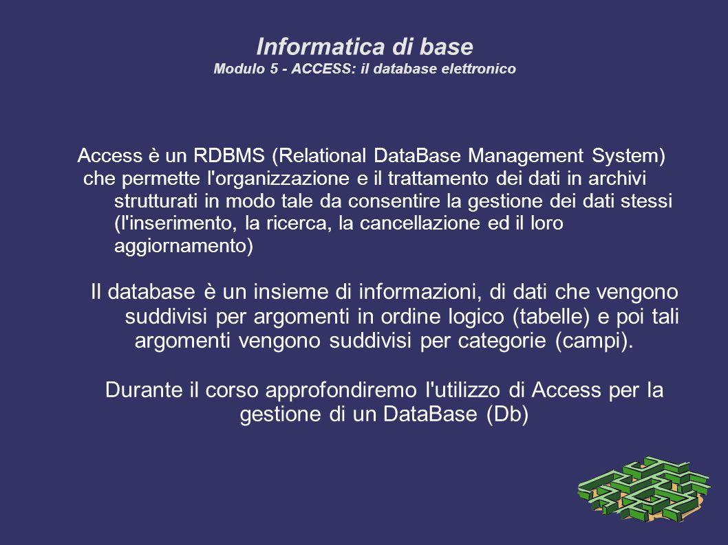 Informatica di base Modulo 5 - ACCESS: il database elettronico