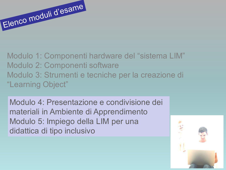 Elenco moduli d'esame Modulo 1: Componenti hardware del sistema LIM Modulo 2: Componenti software.