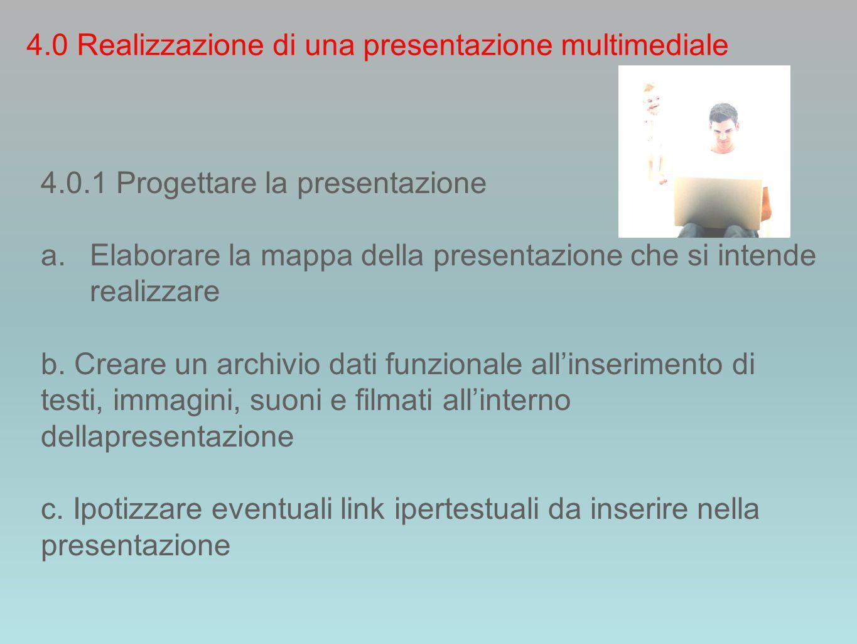 4.0 Realizzazione di una presentazione multimediale