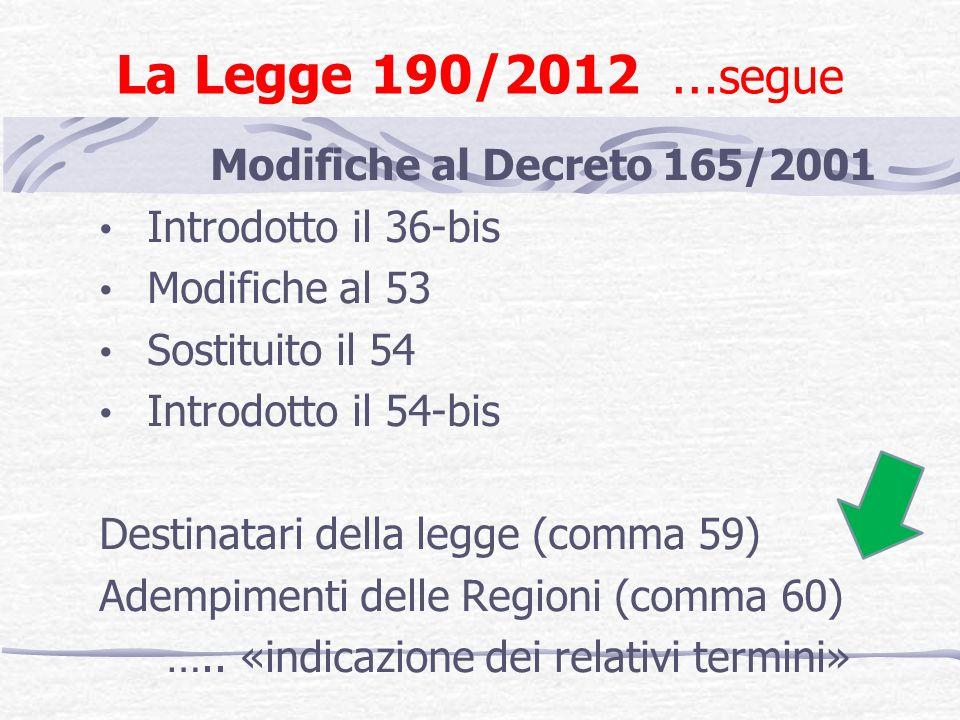 La Legge 190/2012 …segue Modifiche al Decreto 165/2001