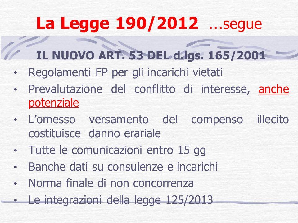 La Legge 190/2012 …segue IL NUOVO ART. 53 DEL d.lgs. 165/2001