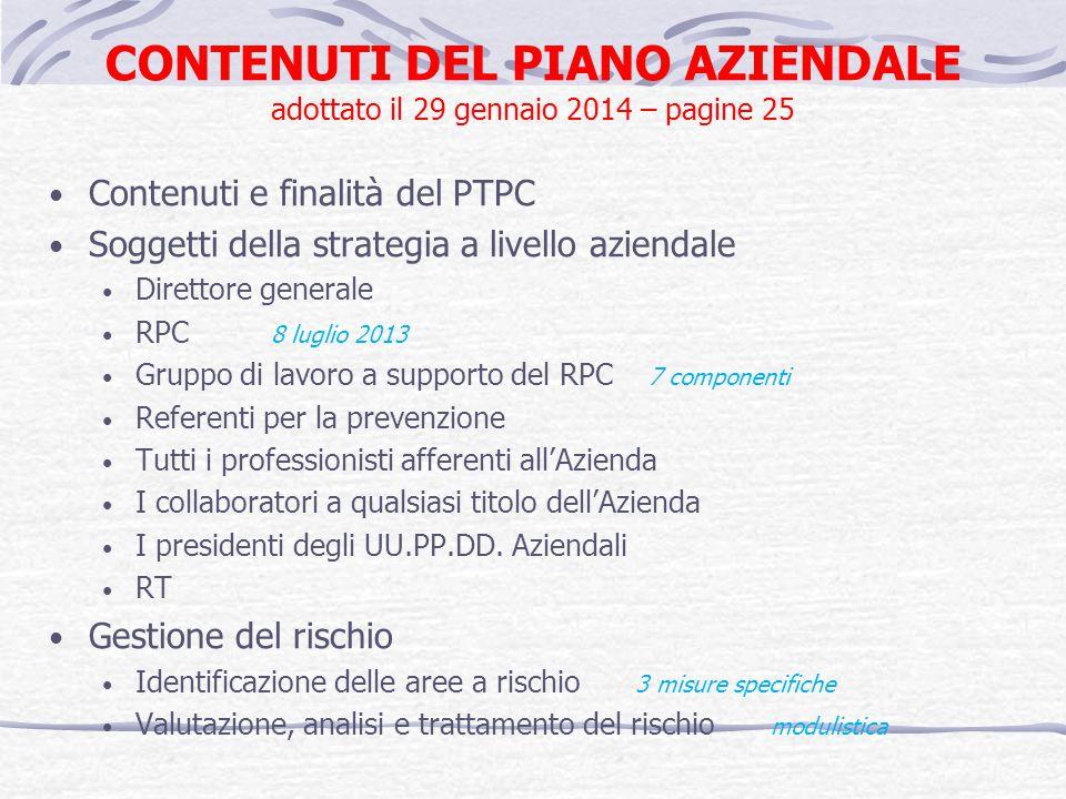 CONTENUTI DEL PIANO AZIENDALE adottato il 29 gennaio 2014 – pagine 25