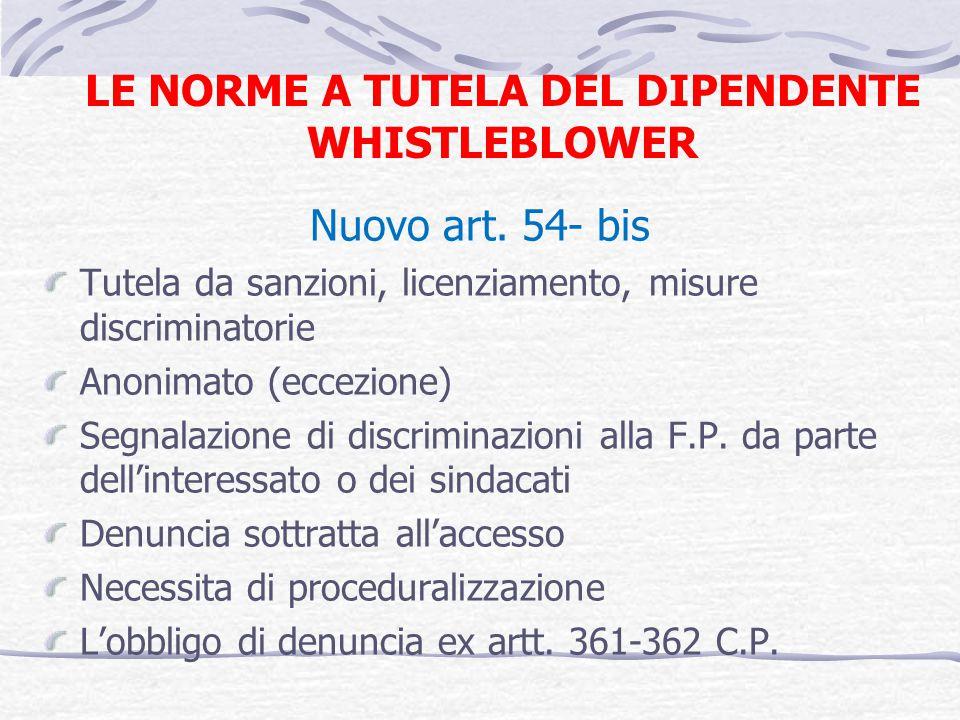 LE NORME A TUTELA DEL DIPENDENTE WHISTLEBLOWER