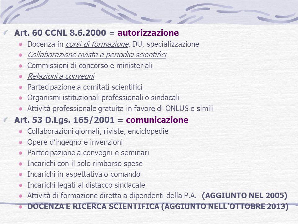 Art. 60 CCNL 8.6.2000 = autorizzazione