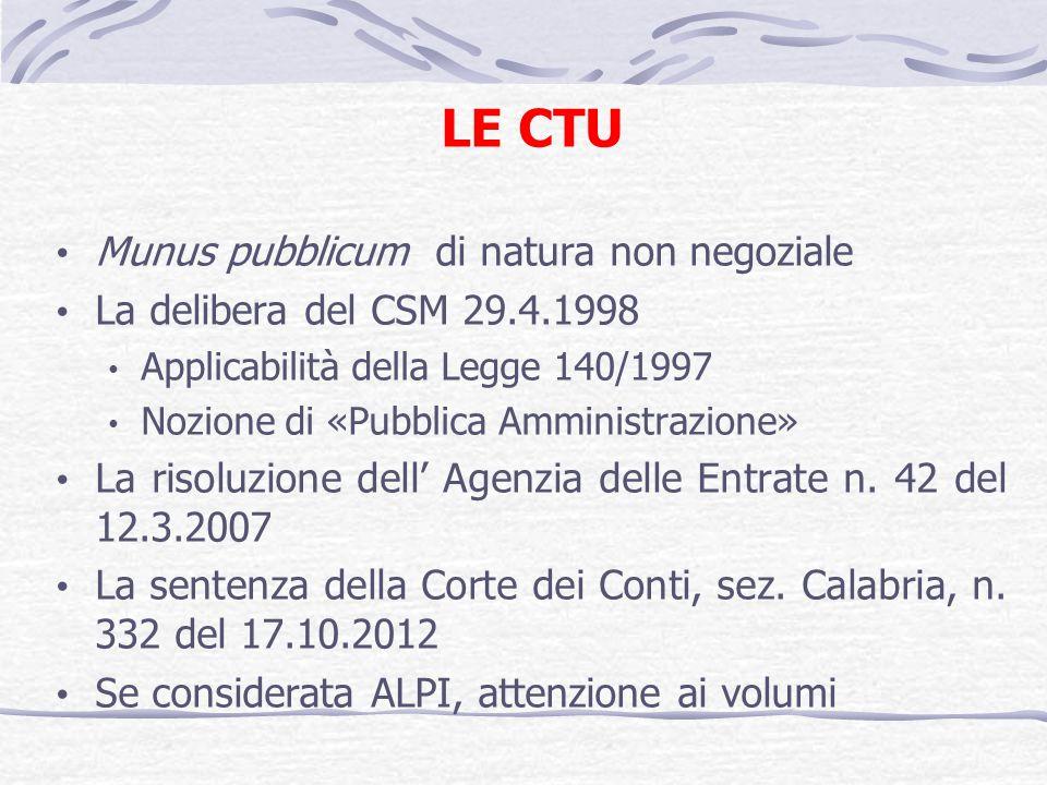 LE CTU Munus pubblicum di natura non negoziale