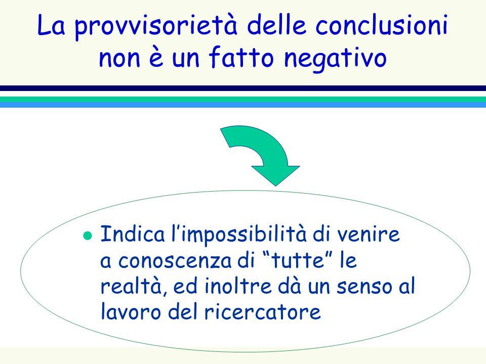 La provvisorietà delle conclusioni non è un fatto negativo
