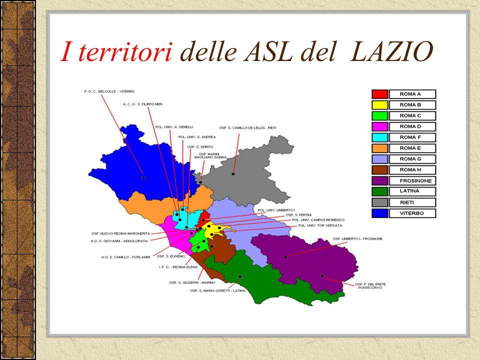 I territori delle ASL del LAZIO
