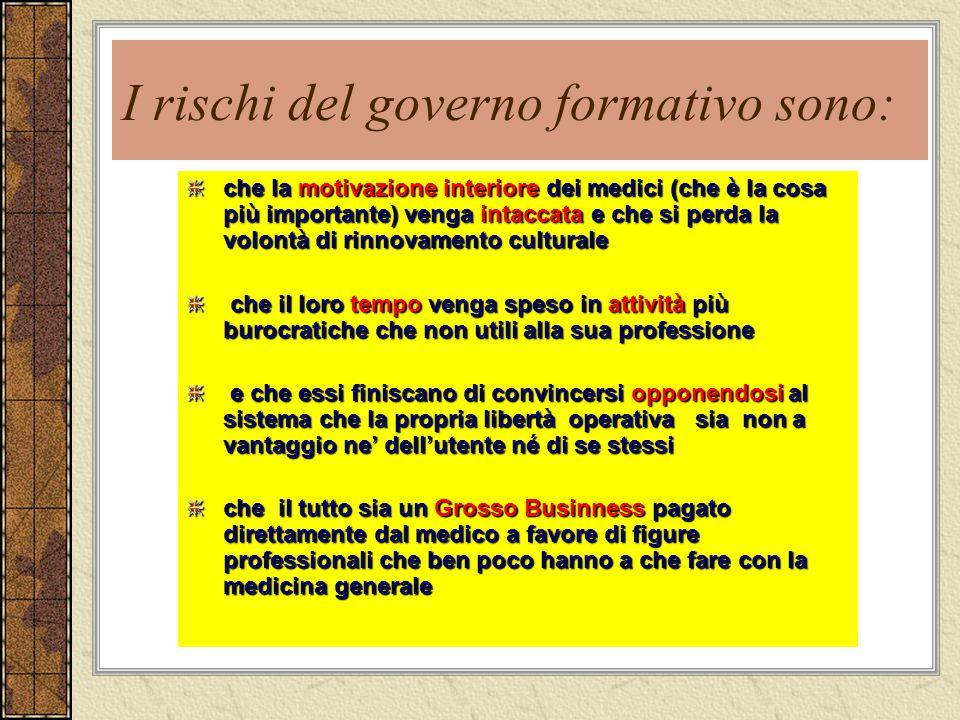 I rischi del governo formativo sono:
