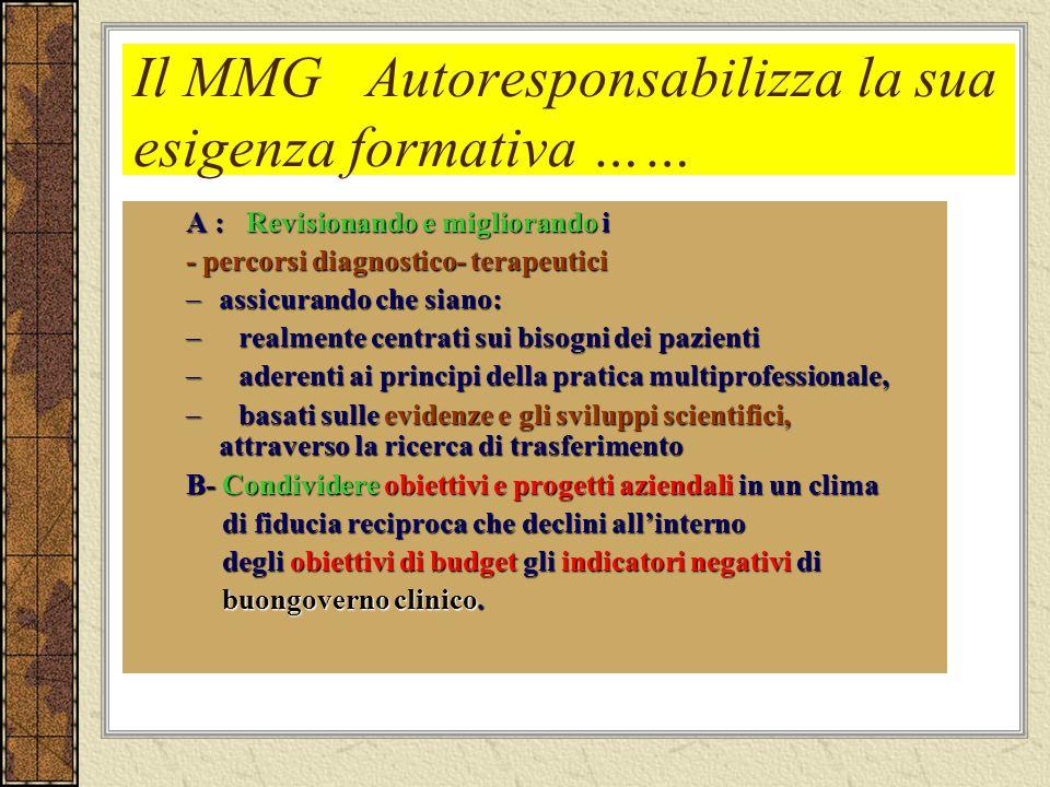 Il MMG Autoresponsabilizza la sua esigenza formativa ……