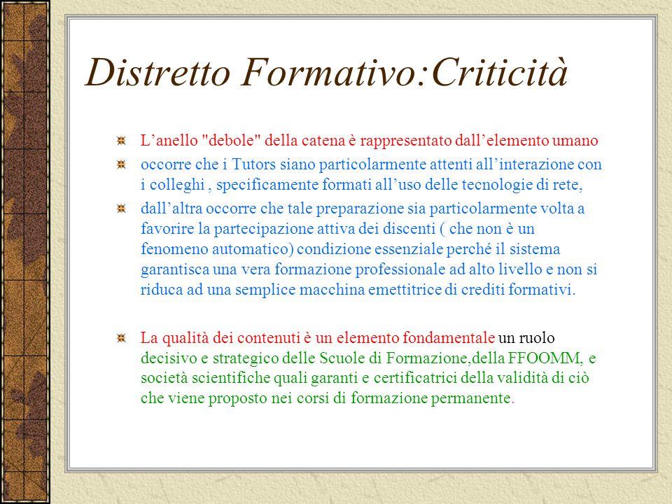 Distretto Formativo:Criticità