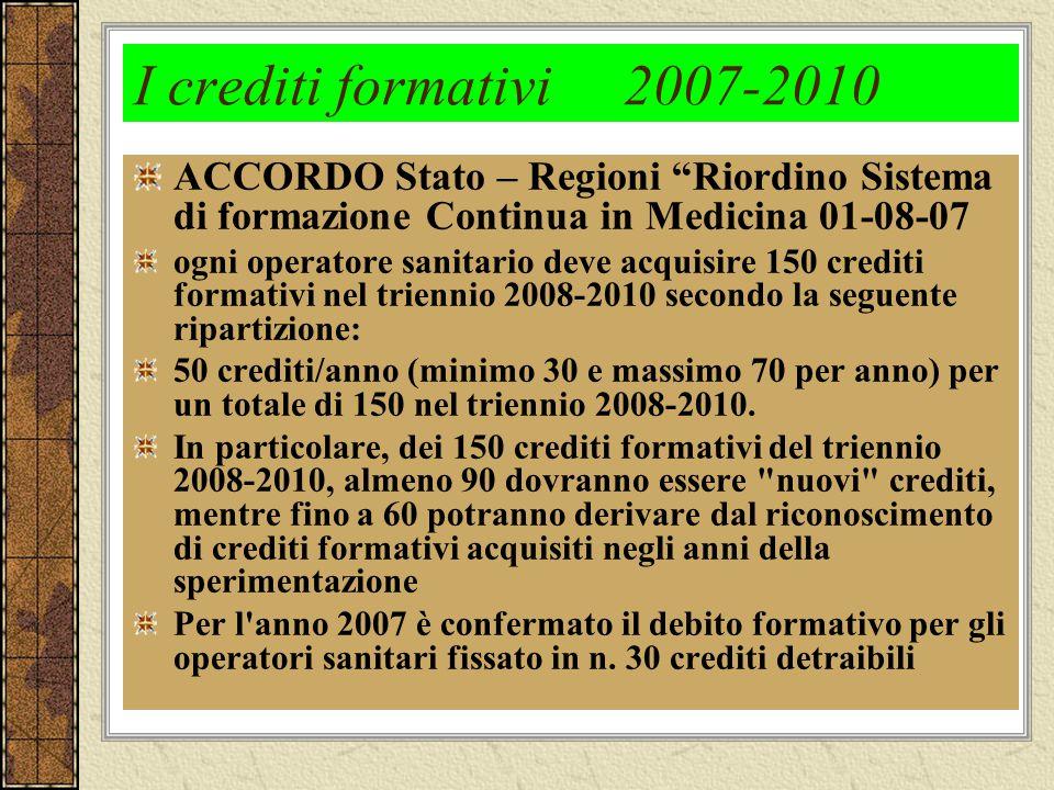 I crediti formativi 2007-2010 ACCORDO Stato – Regioni Riordino Sistema di formazione Continua in Medicina 01-08-07.