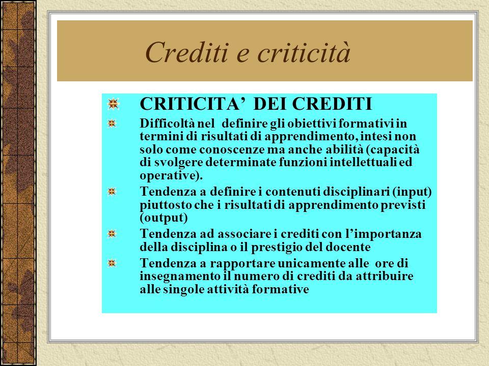 Crediti e criticità CRITICITA' DEI CREDITI