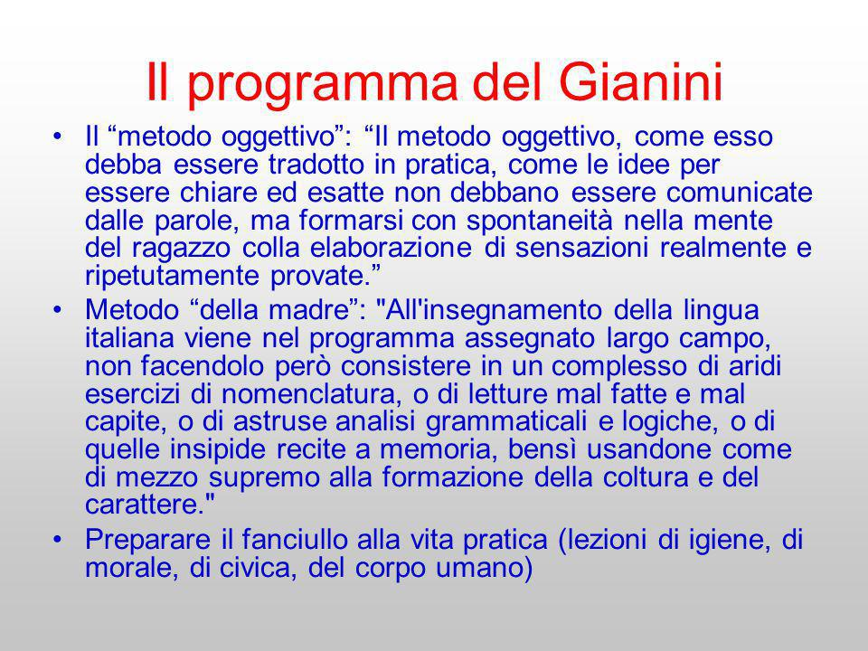 Il programma del Gianini