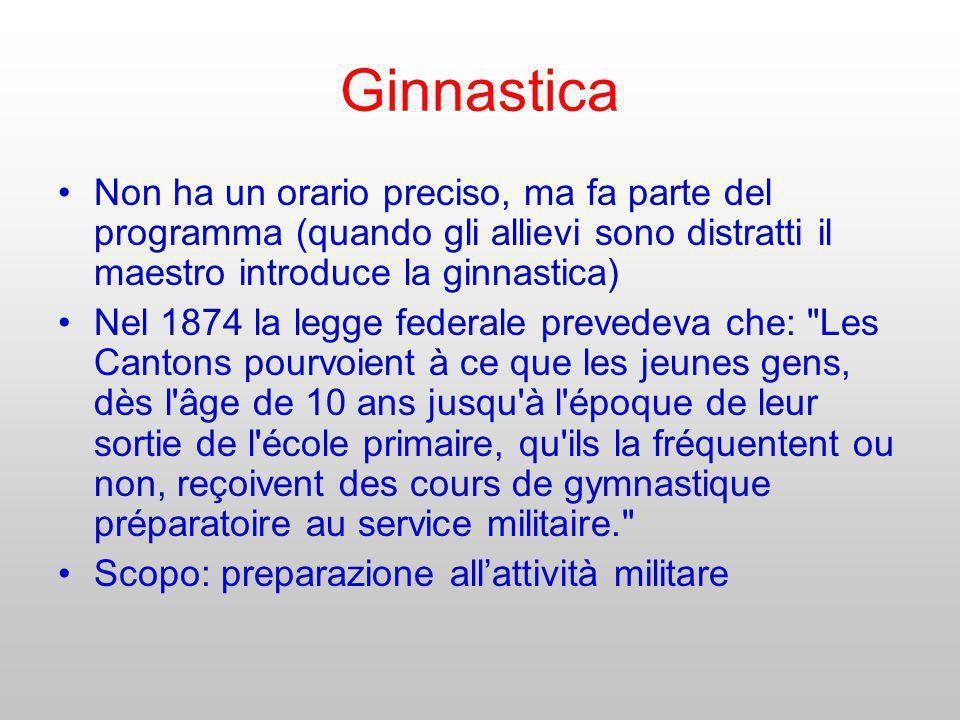 Ginnastica Non ha un orario preciso, ma fa parte del programma (quando gli allievi sono distratti il maestro introduce la ginnastica)