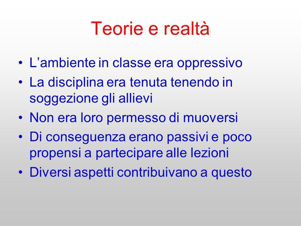 Teorie e realtà L'ambiente in classe era oppressivo