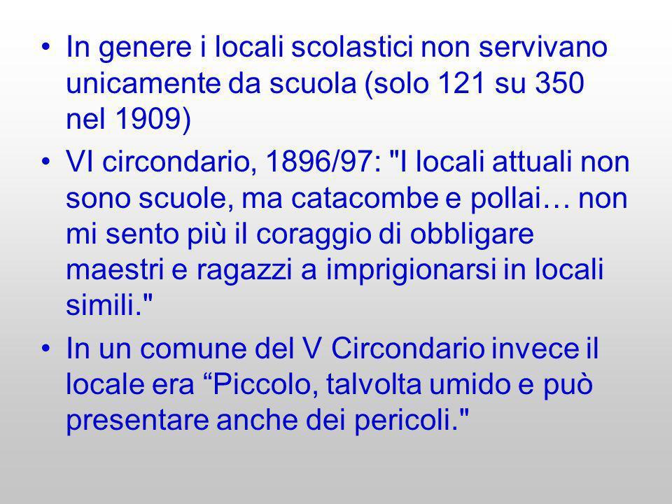 In genere i locali scolastici non servivano unicamente da scuola (solo 121 su 350 nel 1909)