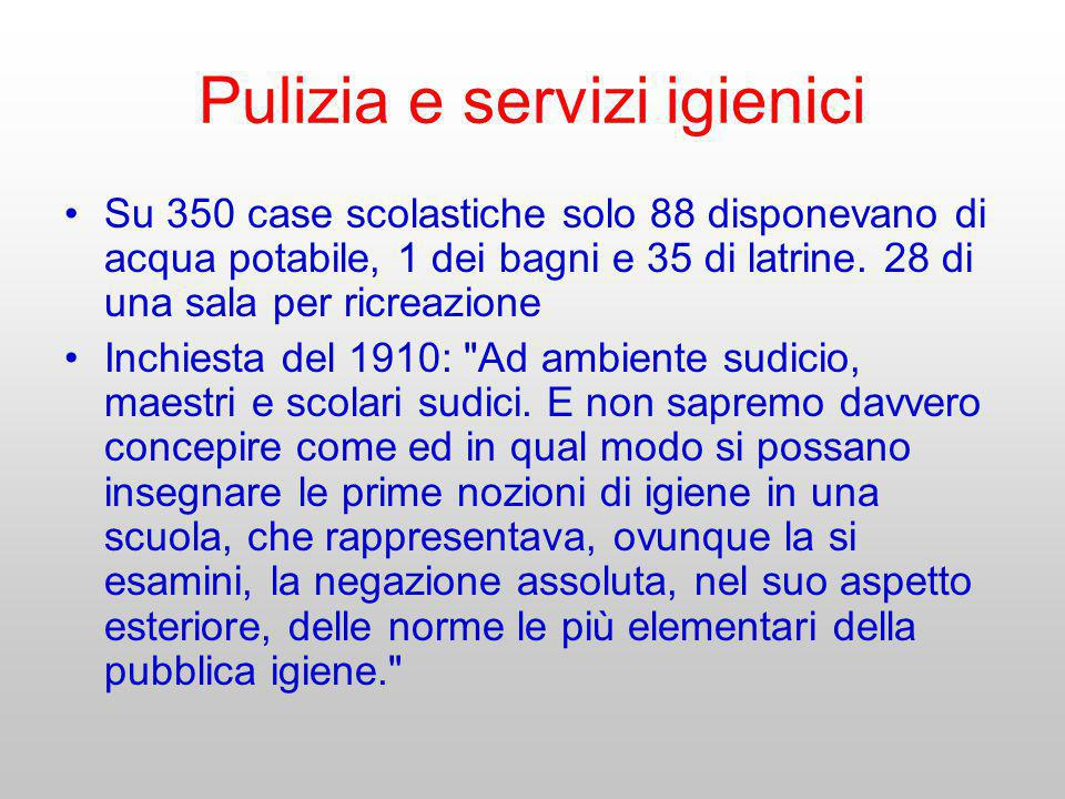 Pulizia e servizi igienici