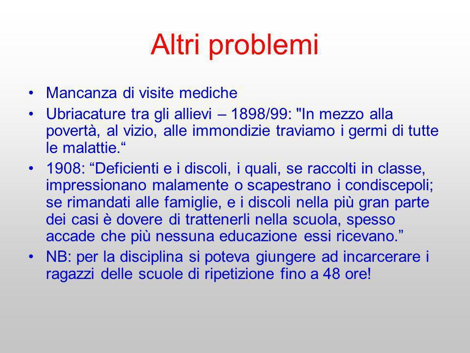 Altri problemi Mancanza di visite mediche