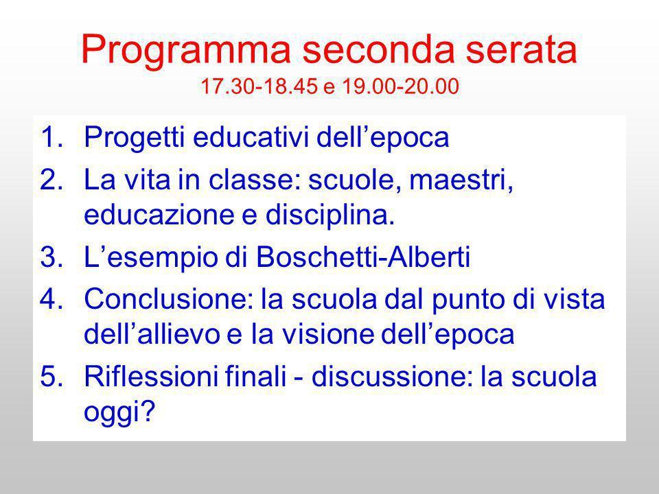 Programma seconda serata 17.30-18.45 e 19.00-20.00