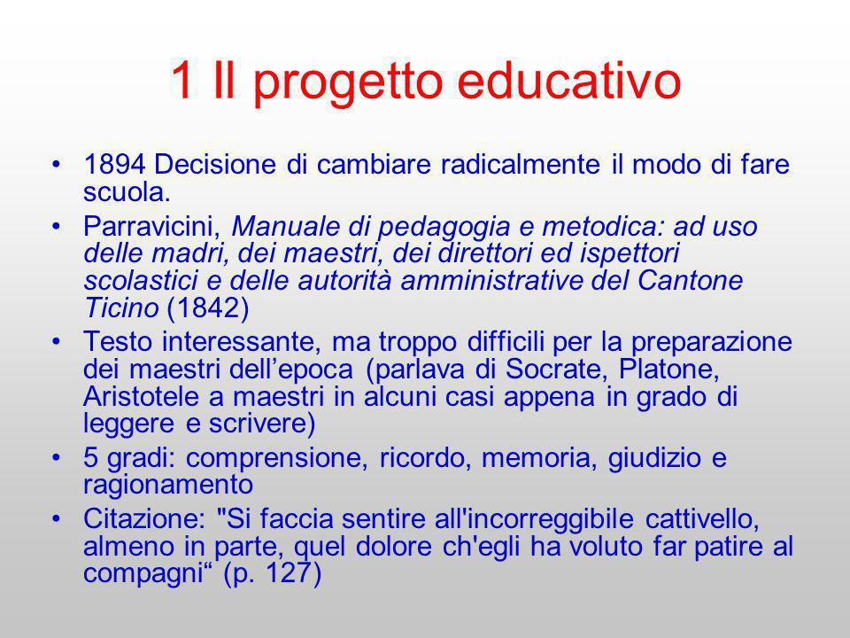 1 Il progetto educativo 1894 Decisione di cambiare radicalmente il modo di fare scuola.
