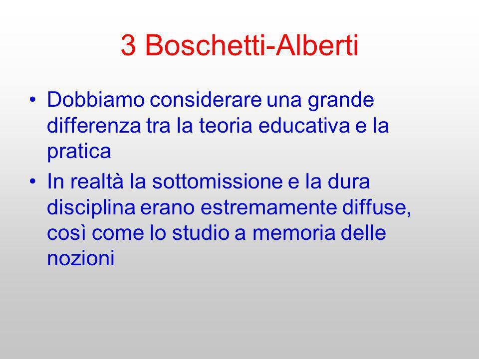 3 Boschetti-Alberti Dobbiamo considerare una grande differenza tra la teoria educativa e la pratica.