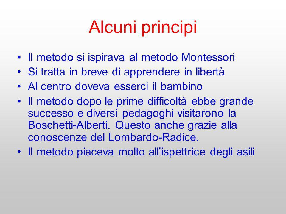 Alcuni principi Il metodo si ispirava al metodo Montessori