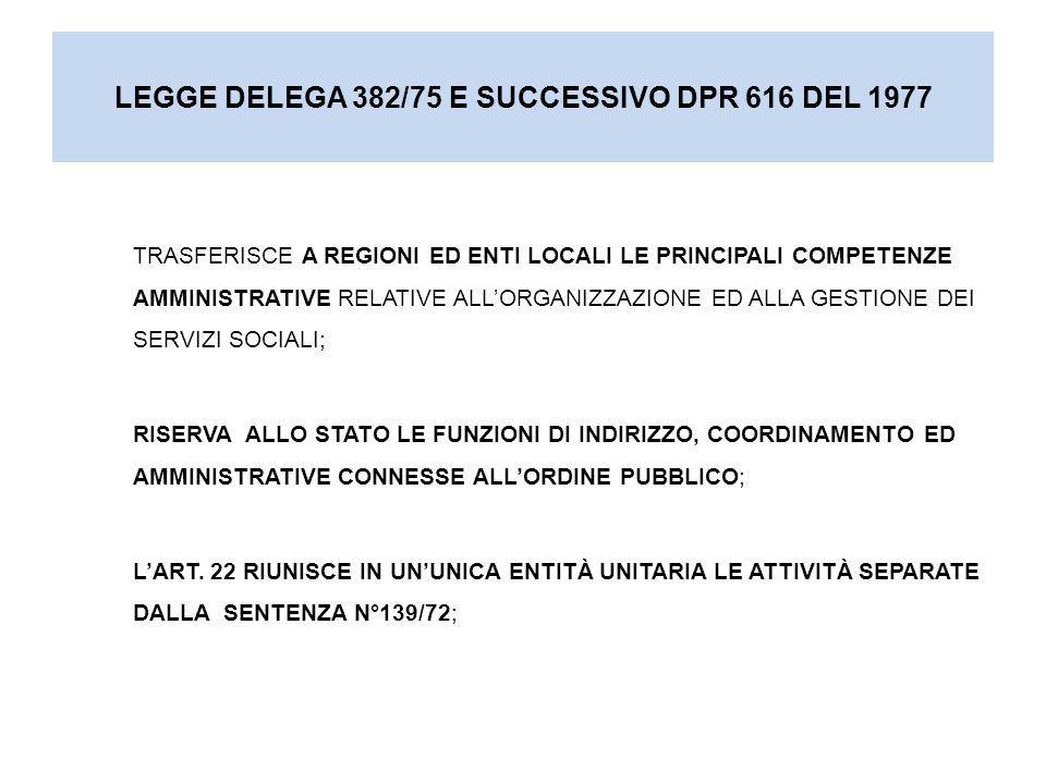 LEGGE DELEGA 382/75 E SUCCESSIVO DPR 616 DEL 1977