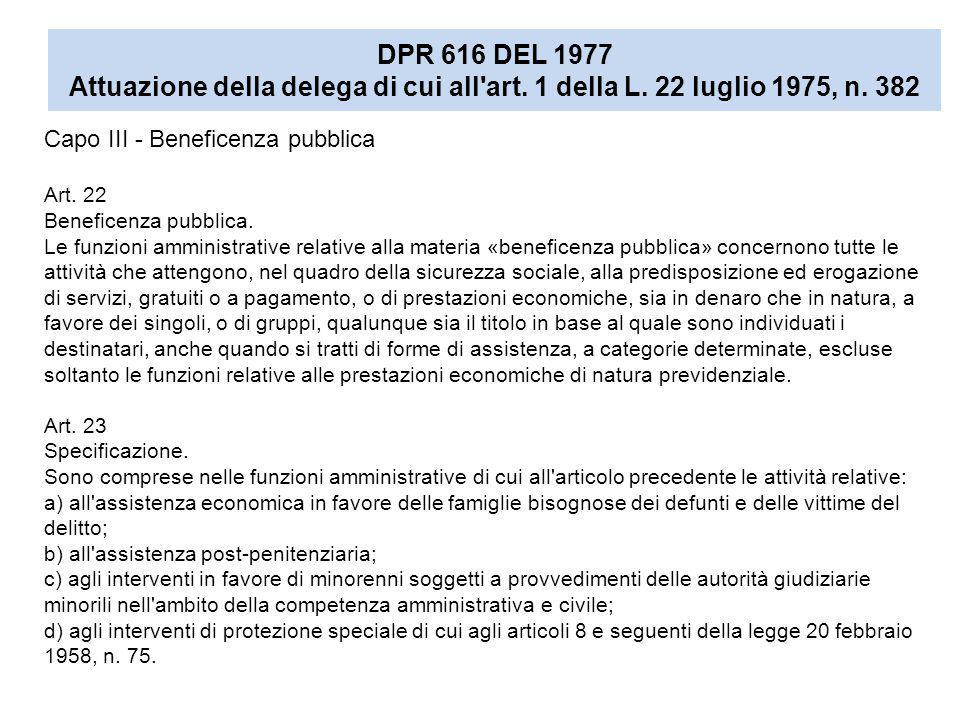 DPR 616 DEL 1977 Attuazione della delega di cui all art. 1 della L