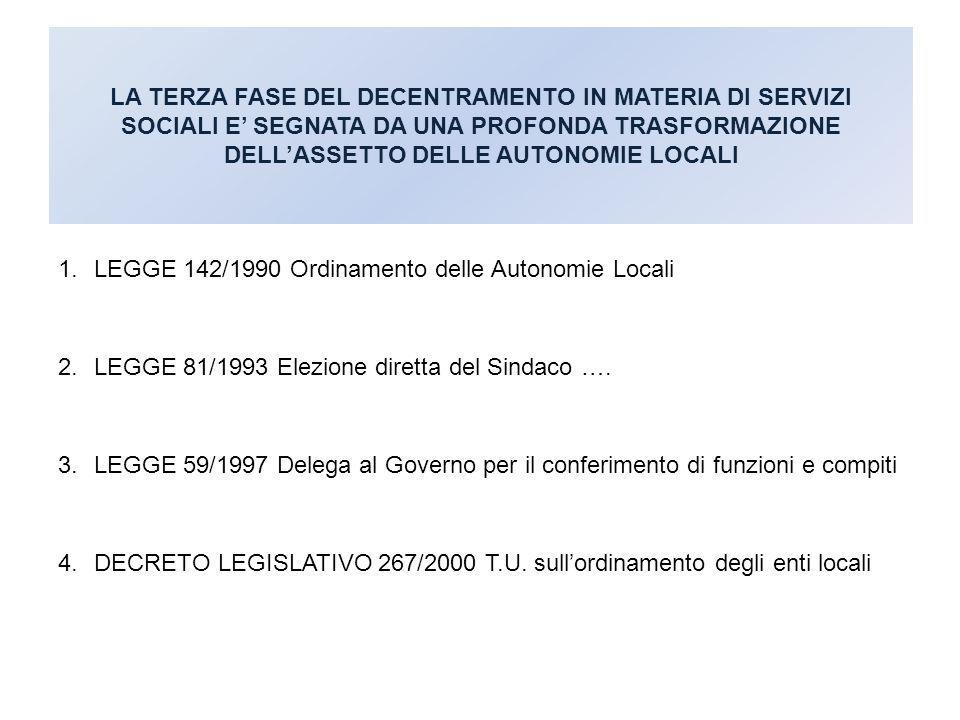 LEGGE 142/1990 Ordinamento delle Autonomie Locali
