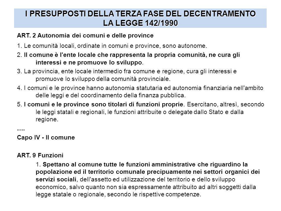 I PRESUPPOSTI DELLA TERZA FASE DEL DECENTRAMENTO LA LEGGE 142/1990