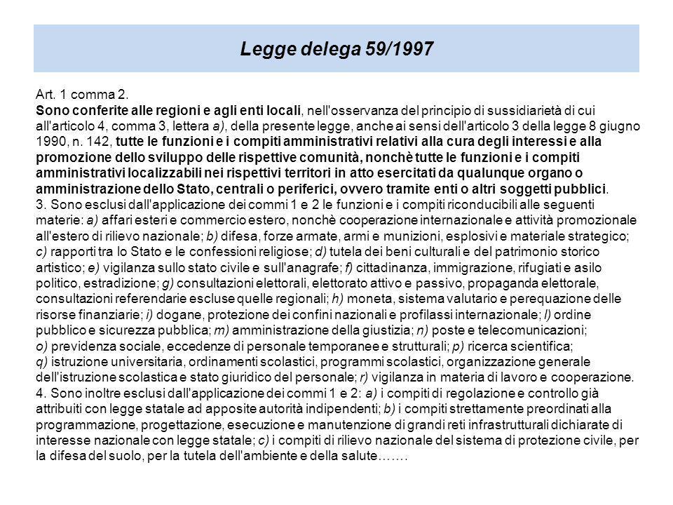 Legge delega 59/1997 Art. 1 comma 2.