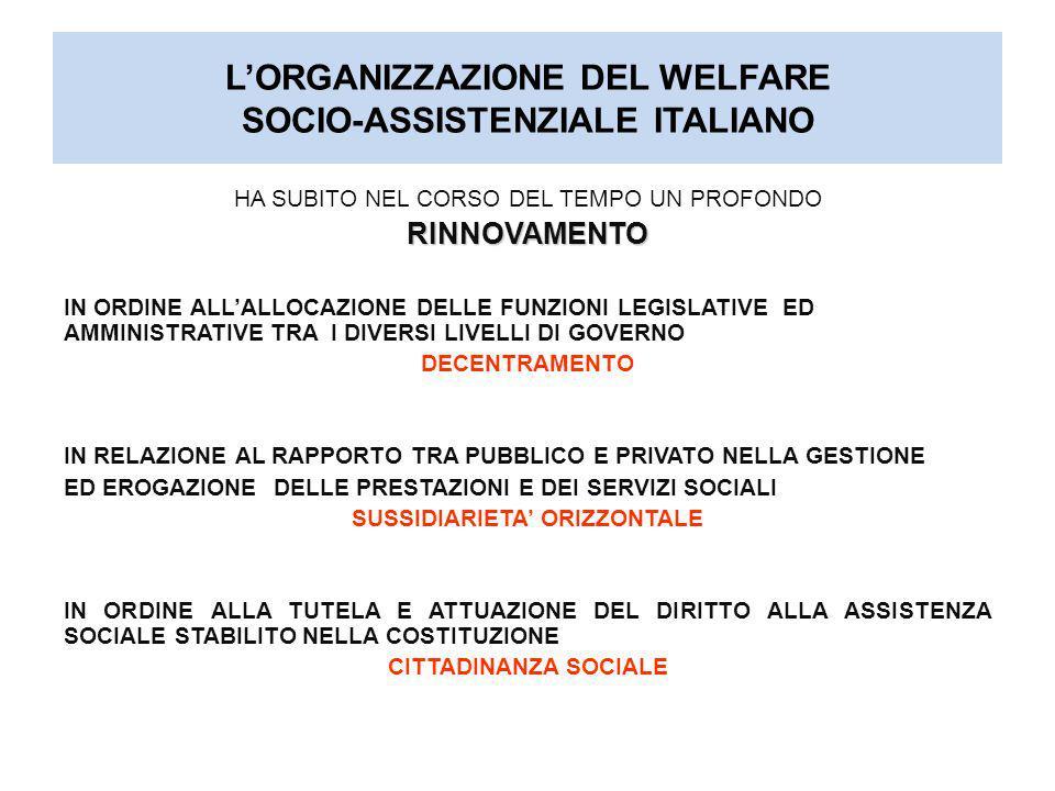 L'ORGANIZZAZIONE DEL WELFARE SOCIO-ASSISTENZIALE ITALIANO