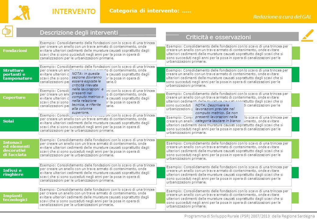 INTERVENTO Redazione a cura del GAL Descrizione degli interventi
