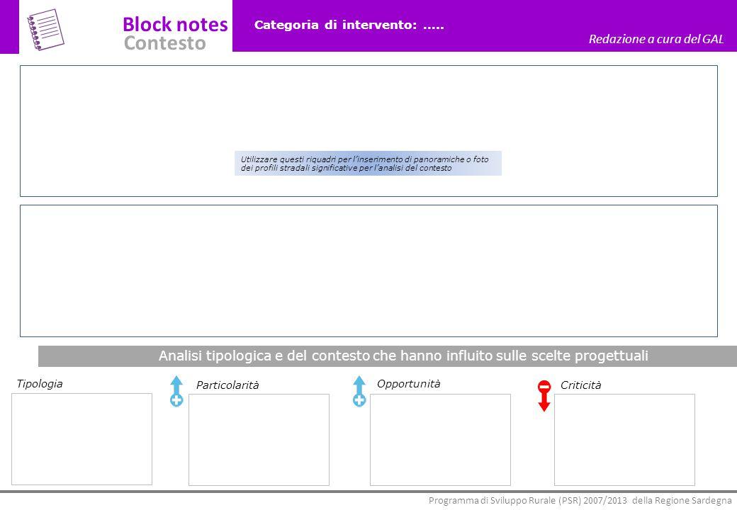 Block notes Contesto Redazione a cura del GAL